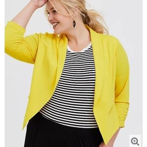 Torrid Lemon Yellow Crepe Open Front Blazer